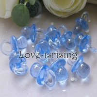 Free shipping- Wholesale 500pcs/pack Mini Acrylic Clear Blue Pacifier Baby Shower Favors~Cute Charms ~Party Decorations