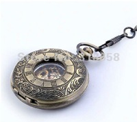 Bronze Tone Pattern Case  White Dial Mechanical Men's Pocket Watch Nice Gift Wholesale Price H168