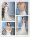 Mermaid V neck organza back transparent baeded wedding dresses