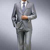 2012 DROPSHIPPING New Men's Premium Mens slim fit 1BTN silver grey dress suit (suit + pants+tie)