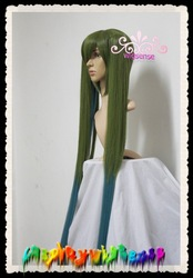 Hot sale!!120 cm Oscar Green Long Straight 2 ponytails cheap costume cosplay anime wig,Natural remy real hair wigs,Free shipping(China (Mainland))
