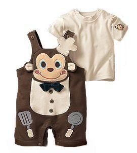 free shipping 3set /lot 2012 fashion baby clothing set(short sleeve t shirt+short pants) for summer,monkey baby summer wear(China (Mainland))