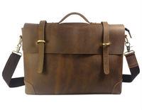 """On sale Cool Fashion Men's  Full Grain Real Leather Bag Brown Men Shoulder bag Messenger Bag Briefcase 14""""laptop Bag"""