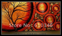 Free shipping Wholesale Retail Hand Painted Artwork Landscape Figure Trees Living Bed Room Oil Painting On Canvas Mixorder 10070