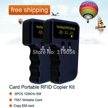 free shipping+Card Portable RFID Copier Kit + 5PCS 125KHz EM/T557 Writable Card/Copy EM card