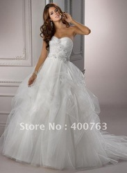 Chic Sweetheart Handmade Flowers Tulle Ballgown Wedding Dresses(China (Mainland))