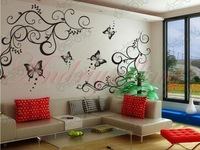 HOT!!Free Shipping! Small size!77cm*70cm! 2in1 Room Fashion Wall sticker decal, Bedroom Living room decor! 2 vines+4 butterflies