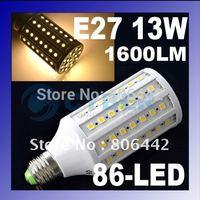E27 SMD5050 13W 1600LM Warm White 86 LED Corn Light Bulb LED Bulb Lamp led lighting 200V-240V free shipping