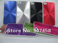 Wholesale 100pcs/lot CD Lines Design PC+Metal Aluminum Plastic Case Hard Back Cover for iPhone 4 4S
