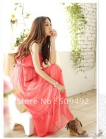 Free shipping 5883 Multicolor spring flounced chiffon long dress