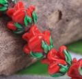30pcs/lot Red Flower Lampwork Glass Beads HR7114-10
