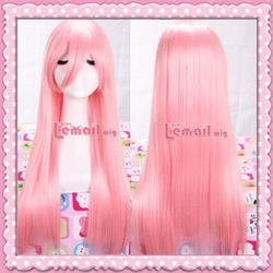 Factory price!65cm Princess pink long straight cheap cure beauty costume anime wig,Natural real hair wigs. free shipping(China (Mainland))
