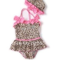 Wholesale leopard grain girls swimsuit hot spring swimsuit conjoined twins children swim cap swimsuit