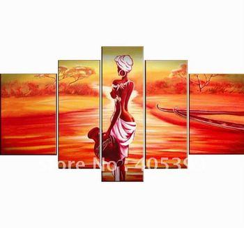 Framed!! Frame oil painting ,5 Panels/set ,Huge  Framed/Stretched Landscape  Painting  JYJLV144