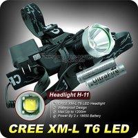 Free ship H-11 Led Head Lamp 1200 Lumen XM-L T6 LED HeadLight Headlamp + 2* 18650 Batteries + Charger