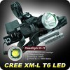Free ship H-11 Led Head Lamp 1200 Lumen XM-L T6 LED HeadLight Headlamp + 2* 18650 Batteries + Charger