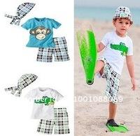 Free shipping Boys suits/Boys clothe/Kids sets/(tops+pants+ scarf hat),Monkey /crocodile short sleeve set,boys' Board Shorts set