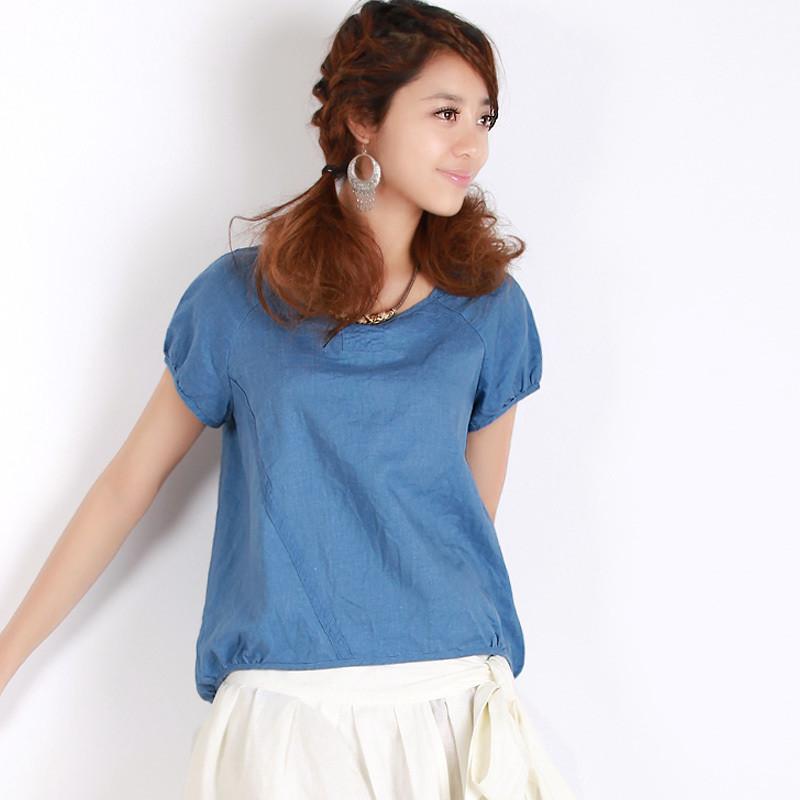 Linen Clothes Women Summer o-neck linen shirt
