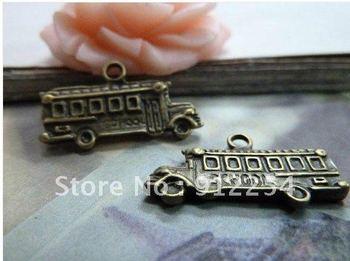 10pcs 13x23mm Antique Bronze Lovely Mini School Bus Charms Pendant C977