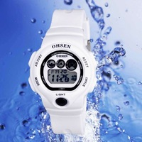 OHSEN Watch 7 Colors Flashlight Digital Boys Girls Sport Rubber Quartz Watches White 1206-2