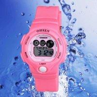 OHSEN Watch 7 Colors Flashlight Digital Boys Girls Sport Rubber Quartz Watches Pink 1206-5