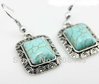 ER248 Mixed MIN ORDER 15USD Bohemian PROMOTION Tibetan Silver Turquoise vintage drop dangle fashion wholesale earrings Jewelry