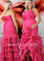 2012 Hot New Sweetheart Pink Organza Ruffles Custom made Long Mermaid High Low Hem Prom Dress Plus Size