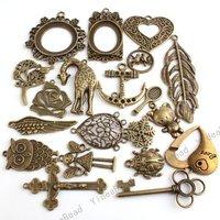 40pcs Assorted 20 design Antique Bronze Charms Loop Pendants Beads Metal Mix Pandent Fit Chains 140234