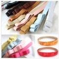 OMH  New Fashion Women's Cute Nice Candy color sweet double layer bow women's strap belt decoration PU leather Thin Belt  22g