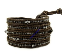 Handmade  silver  Alloy  bead  with light  brown leather rope 5 wraps SKULL bracelet for gift  Retail Free shipping CL230