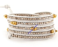 Handmade  white Alloy  bead  with  white  leather rope 5 wraps gold  SKULL bracelet for gift  Retail Free shipping CL233