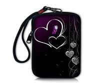 Two Hearts Soft Mini Case Bag Pouch Cover Fit Digital Camera,Ipod Touch,Apple Iphone ,Ipod,Coin Purse(China (Mainland))