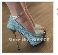 High with waterproof fine with the fish head buckle lace elegant high-heeled shoes   FREE SHIPPING
