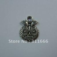 250 pcs/lot 17x13 mm Alloy Owl Tibetan silver pendants Free shipping
