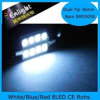 36mm 8LEDs SMD5050 Dual tip car sun visor lights, LED festoon lamp , 12V DC W/B/R, Free Shipping !
