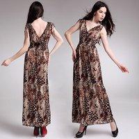 Free Shippig New Lady Women's Summer Wear Double V-Open Nipped-Waist Leopard Longuette Dress JM023