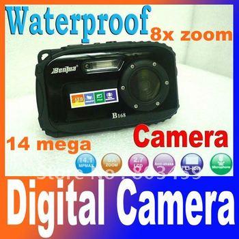 "On sale! waterproof digital camera,2.7"" TFT screen,10m underwater 14 mega 8x zoom digital camera Free Shipping"