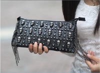 Free Ship PU Hot Sale Black Skull Women Clutch Bag wholesale and retail!New desgin lady's love skull clutch bag,MM love handbag