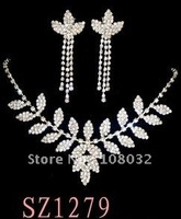 MIN.ORDER $15,shining jewelry set for bride,rhinestone leaves as decorations