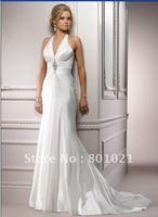 Free Shipping A-line Hollywood glamour halter dazzling Swarovski crystal beaded Lace up Chapel Train bridal wedding dress
