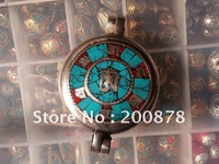 TGB139 Tibetan mantras amulet big prayer box,45mm,Tibet handmade Ghau pendants,OM