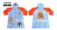 Free Shipping! 20pcs/lot Fashion Cartoon PVC Raincoat Spiderman Children's Rain wear G1216 on Sale Wholesale