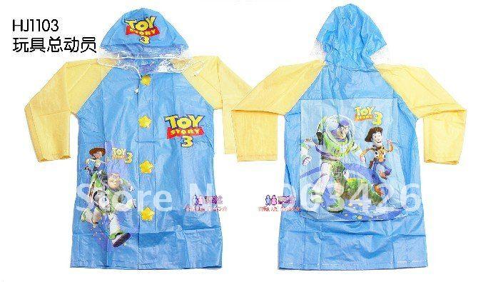 Free Shipping! 20pcs/lot Fashion Cartoon PVC Raincoat Toy Story 3 Children's Rain wear G1224 on Sale Wholesale(China (Mainland))