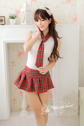 Angel school girl costume sexy student uniform white top tshirt with scarf matching with mini skirt sexy lingerie sexy costume(China (Mainland))