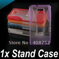 High Quality Silicone TPU Soft Case Cover + stand For Samsung Galaxy S2 i9100