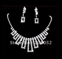 MIN.ORDER $15,shining jewelry set for bride,rhinestone irregular rectange as drops