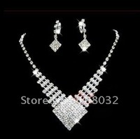 MIN.ORDER $15,shining jewelry set for bride,rhinestone rhombus as drops