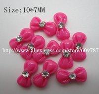 Free shipping/200pcs/bag hot Pink Bow Nail Art Decoration Resin Glitter Bow Tie