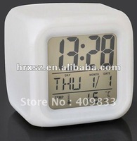 Cute 7 Color changing digital alarm clock with free shipping
