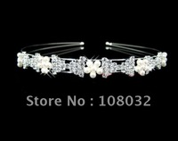 simple hairband with rhinestone bowknots and pearl flowers as decorations,free shipping by CPAM on MIN.ORDER $15